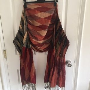 Red Brown BoHo Scarf with Fringe